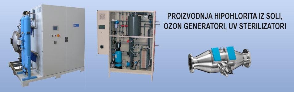 proizvodnja hipohlorita iz soli, ozon generatori, uv sterilizatori